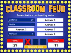 "Create your own ""Family Feud"" style review game! Great alternative to Jeopardy  Maybe do at the end of the year for a ""how well do you know each other now"" activity?"