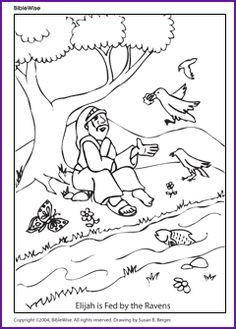 Elijah fed by ravens color page\