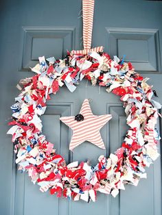 holiday, american rag, fourth of july, rag wreaths, july crafts, front doors, 4th of july, shade, fabric scraps