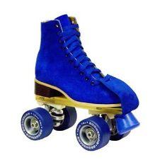 Roller skates in electric blue.