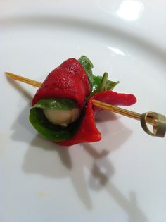 Unique Caprese Skewer...Roasted Red Pepper, Basil Leaf and Fresh Mozzarella Ball