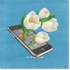 """iPlanter"" watercolor painting. Finally, a really good use for your smart phone."