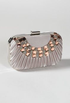 Pleated Satin Box Bag with Rhinestone Front from Camille La Vie and Group USA prom clutch
