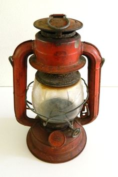 Red Dietz lantern Vintage Home Decor by Rustage on Etsy, $24.00