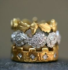 ❥ Cathy Waterman stacked rings