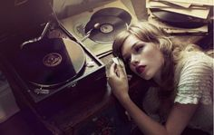 music, retro photos, vinyls, old records, songs, red lips, vintage romance, record collection, fashion photography