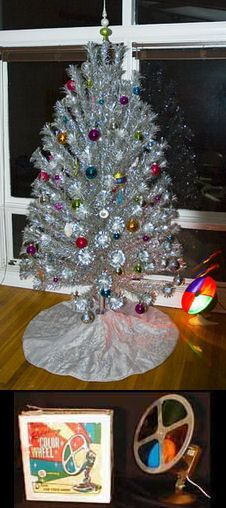 1960's Aluminum Christmas tree complete with the color wheel!