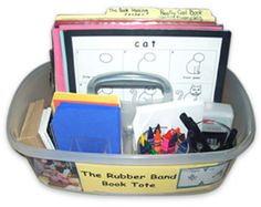 """CHILDREN LOVE DRAWING ANIMALS  and making books!  We give them writing templates and they have authentic and motivating word work practice.  Independent writing and drawing totes hold all of the supplies needed. SEE LIST OF SUPPLIES.  http://www.nellieedge.com/members/resources/rubber-band/rubber-band-book-tote.pdf This is one of 5 writing totes  that differentiates learning  from """"Kindergarten Writing and the Common Core"""" by Nellie Edge, Chapter 6."""
