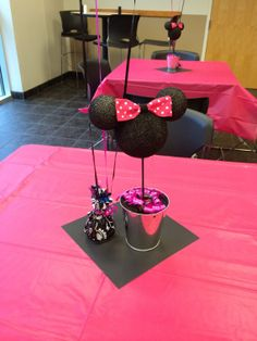 Pink & Black Minnie Mouse Centerpiece on Etsy, $15.00