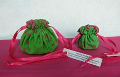 """Individual compartments inside these bags will separate and protect your jewelry.  $14.25 per set.  Over 250 different colors and 5 sizes available @IslandJewelryBags.com  """"Watermelon"""" Jewelry Bags"""