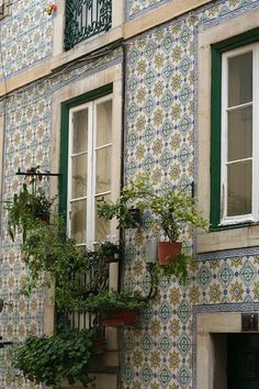 Inspiration. Lisbon in Spring. Tile facade.