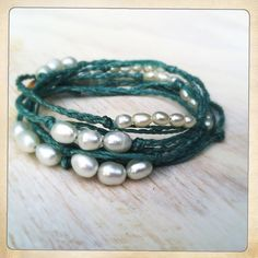 Turquoise and pearls wrap