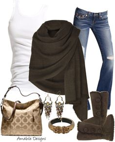 """Weekend Casual"" by amabiledesigns on Polyvore// perfect outfit, jeans , boots ad of course a Coach purse !!!"