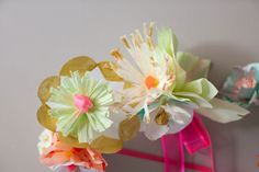 Paper Flower Headbands DIY | Oh Happy Day!