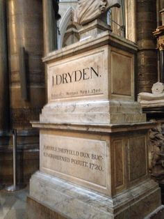 Memorial to John Dryden....the first choir piece this group sang together this fall was the setting of his poem Song to Saint Cecilia by Norman Dello Joio!