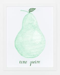 Sycamore Street Press - Une Poire Pear Art Print emerald, art prints, pear art, mint