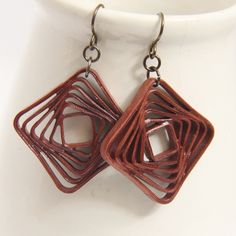 Square Spiral earrings made from paper quilling, with niobium findings - Honey's Quilling