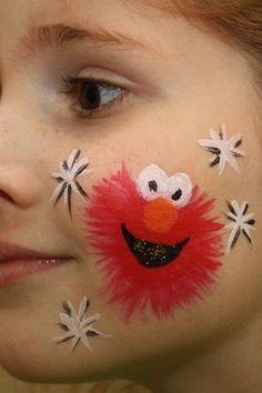 Diy Elmo Face Faint #DIY #SesameStreet #FacePainting #CheekArt #Party #Parties #Birthday #Birthdays