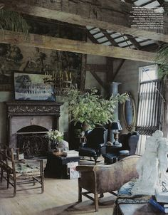 A studied antique mix ... darkly romantic.  Scanned from Elle Decor May 2012.