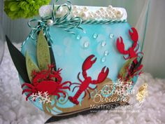 by Bibiana: Fish Bowl for summer using Memory Box dies; coastal crab and lobster. card posted at the French Blog