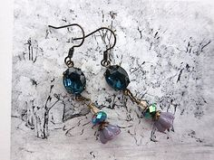 Cobalt Candy Czech glass sparkle and flower drop by angelcake, $21.00