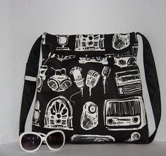 black white vintage large diaper bag/ old radio by leyyabags, $38.00
