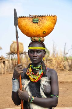 Omo Valley, Dassanech Woman with spear