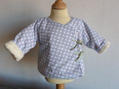 Veste bébé 3/6 mois éponge écrue et coton bleu quadrillé à pois : Mode Bébé par fee-home