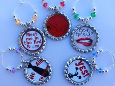 50 Shades of Grey Party Favors Wine Charms Set of 5 by juliemead4, $9.00