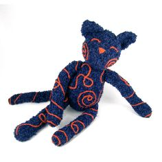 Betty Blue    Crocheted kitty with scribbled chain stitch design.