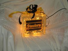 glass block craft ideas | Sports Lights, Pittsburgh Steelers. Glass Block with gold lights ...