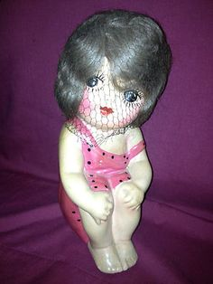 RARE 1919 Beach Girl Carnival Chalk Doll with Mohair and Netting | eBay