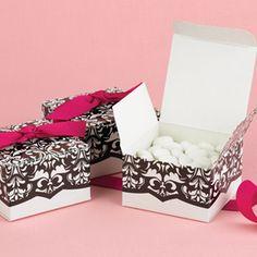 wedding accessories, idea, wedding favors, weddings, ribbon, white, favor boxes, dynam design, black