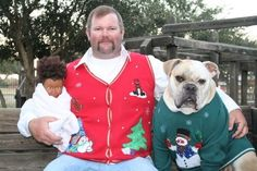 When a dog in an ugly Christmas sweater isn't the strangest thing in the photo.