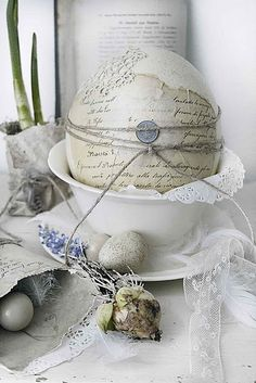 I rather adore the idea of creating one large vintage paper covered Easter egg to use as a central decor piece. #Easter #egg #French #shabby #chic #provincial #decorations