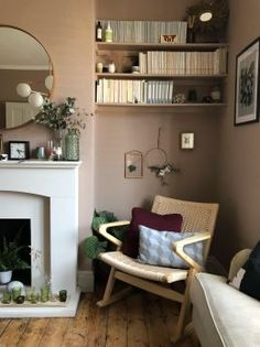Scandinavian Living Room makeover, muted pink, neutrals, mid-century simple design, Farrow Ball Dead Salmon, Craft luxe, interior design ideas and inspiration (18)
