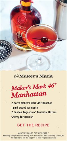 Made with whisky, sweet vermouth and bitters, the Manhattan is also open to variation. It's often a platform for great bartenders to show off their creativity. Here's our favorite version. Ingredients: 2 parts Maker's Mark 46 Bourbon, 1 part sweet vermouth, 2 dashes Angostura® aromatic bitters, cherry for garnish. Click thru to put it together.