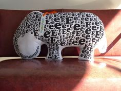 """Alphabeasties Pillows by Sarah Nelson Forss and Sharon Werner: 'E' is for Elephant.  Directly inspired by the imagery from their own award-winning children's book """"Alphabeasties"""". #Toys #Plushies #Alphabeasties #Ekephant #Sarah_Nelson_Forss #Sharon_Weiner"""