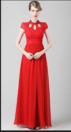 Red short sleeve wedding dress chinese wedding dress