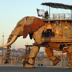 Machines de L'île: 12 meter tall steel and wood mechanical elephant that can carry 30 passengers at a time!  Located among other mechanical animals on the island of Nantes off Brittany.