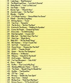 Running Songs - would have some of these but not all!