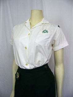 1960s US Cadet Girl Scout Uniform blouse and skirt.