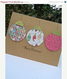 ON SALE Ornament Card - Paper Handmade Christmas Cards -  Handmade Holiday Cards - Blank Christmas Cards - Kraft Christmas Cards. $4.25, via Etsy.