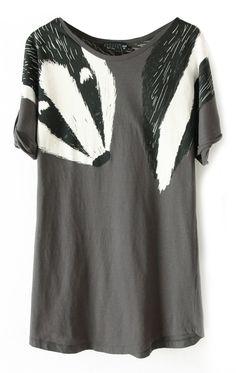 Grey Short Sleeve Shoulder Fox Print T-Shirt - Sheinside.com