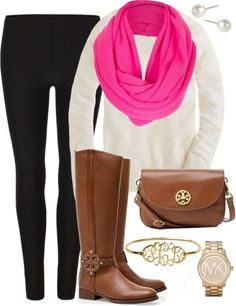 pink scarf, boots, and leggings