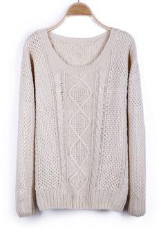 #SheInside Beige Round Neck Broken Stripe Cable Sweater