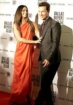 Matthew McConaughey and wife Camila Alves at the Rome premiere of Dallas Buyers Club