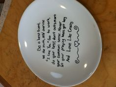 Write on plate with sharpie put in oven for 30 min at 350°F super cute diy! write quotes or have people write messages to you on them