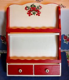 Hand crafted vintage spice storage rack in Cherry pattern and red/white paint