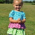Toddler Ruffled Peasant Dress - Teal Pink Green Purple Size 18/24 Mon.